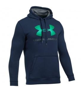 Sudadera con capucha para hombre de Under Armour de color azul y logotipo en verde. Más colores disponibles en nuestra web.