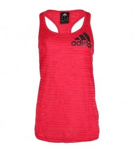 Camiseta de alzas Adidas Women Tank (REF: CE1103). De corte holgado y color rosa, resulta perfecta para tus entrenamientos en el gimnasio.