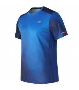 Camiseta de manga corta ideal para la práctica de running con parte posterior transpirable y tecnología New Balance Ice. Ref: MT71224ITR