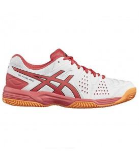 Zapatillas de padel para mujer Asics Gel-Padel Pro 3 GS E561Y-0119 de color blanco y rosa. Otros modelos de padel para mujer en chemasport.es