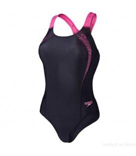 Bañador Speedo Sports Logo Medalist 8-09689A593 para mujer negro y rosa, entra en chemasport.es y descubre más bañadores