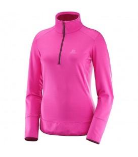 Camiseta Salomon Discovery HZ con forro polar interno y perfil ajustable. Ref: L39746900 Forro polar para mujer de color rosa.