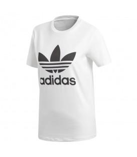 Camiseta para mujer adidas trefoil CV9889 de color blanco con el trébol en el pecho de color negro. Otras camisetas de adidas en chemasport.es