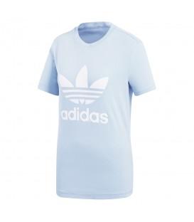 Camiseta adidas Trefoil CV9891 para mujer en color azul, entra en chemasport.es y descubre más prendas de la línea Adicolor de adidas