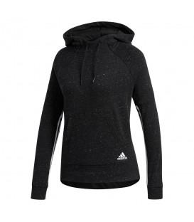 Sudadera adidas Sports2street CW2302 para mujer de color gris oscuro, sudadera con capucha de corte ajustado y bolsillo tipo canguro.