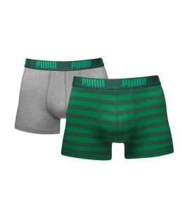 Bóxer Puma Stripe 651001001-327 en color verde y gris, pack de 2 bóxers de la marca puma, más colores disponibles en chemasport.es