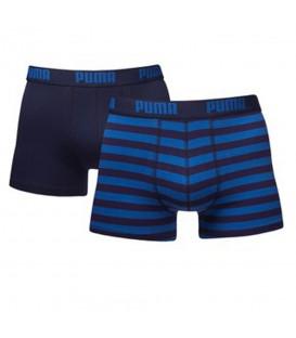 Bóxer Puma Stripe 651001001-056 en color azul, pack de 2 bóxers ajustados de algodón, más colores en chemasport.es