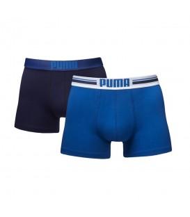 Bóxer Puma Brand 651003001-056 en color azul, pack de 2 bóxers azules al mejor precio, más colores disponibles en chemasport.es