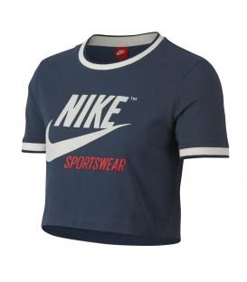 Camiseta Nike Sportswear Top AA1184-471 para mujer en color azul, top Nike de estilo retro confeccionado en algodón, disponible en chemasport.es