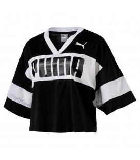 Camiseta para mujer estilo cropped tee Puma Urban Sports negro/blanco. Ref: 85001101. Disponible en más colores en www.chemasport.es