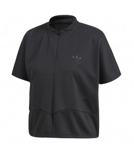 Camiseta de manga corta para mujer adidas CLRDO con cremallera de color negro. De estilo retro/futurista esta chaqueta es perfecta para tus post-entrenos.