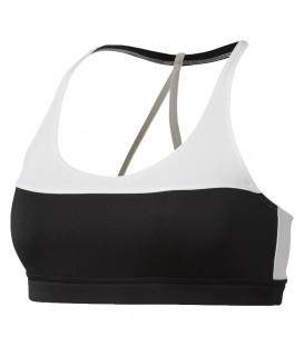 Top Reebok Workout Ready CD5932 para mujer en color blanco y negro, sujetador deportivo de bajo impacto para entrenar, perfecto para las copas A y B.