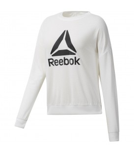 Sudadera Reebok Workout Ready Activchill CE1181 para mujer en color blanco, sudadera para el día a día o para ir a entrenar con tejido suave y transpirable.