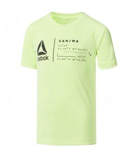 Camiseta de manga corta para niños Reebok Boys Workout Ready de color amarillo. Camiseta de poliéster cómoda y polivalente. Ref: CG2172.
