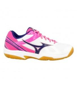 Zapatillas de volley para mujer Mizuno Cyclone Speed W V1GC178052 de color blanco y rosa. Otros modelos de deportivas de volleyball al mejor precio en chemasport.es