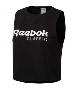 Camiseta Reebok GP Q2 CF3152 para mujer en color negro, crop top de corte holgado y estilo desenfadado, encuéntralo en Chema Sneakers o en chemasport.es