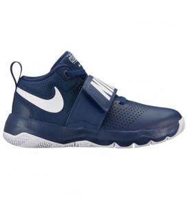 Zapatillas de baloncesto para niños baratas de Nike. Comprar zapatillas Nike Team Hustle D 8 GS de color azul marino para niños en chemasport.es