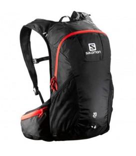 Mochila Salomon Trail 20L L37998100 en color negro, mochila para trail, senderismo o carreras de media intensidad, con bolsillo para bolsa de hidratación.