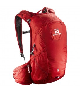 Mochila Salomon Trail 20L L40133800 en color rojo, mochila de trail con bolsillo de hidratación y sistema de distribución de carga, más colores en chemasport.es