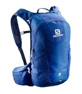 Mochila Salomon Trail 20L L40133900 en color azul, mochila de trail con compartimento para bolsa de hidratación, distribución de carga y resistente al agua.