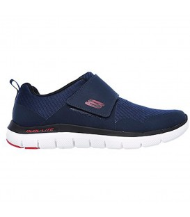 Zapatillas de caminar para hombre Skechers Flex Advantage 2.0 Gurn 52183-NVRD de color azul marino y cierre de velcro al mejor precio en chemasport.es