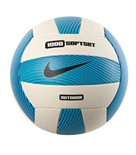 Balón Nike 1000 Softset Outdoor N.VO.05.938.NS en color blanco y azul, balón de volleyball que ofrece una gran durabilidad, más colores en chemasport.es