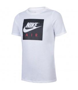 Camiseta Nike Air Logo 894300-100 para niños en color blanco, camiseta básica de algodón para niños, encuéntrala en chemasport.es