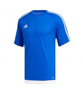 Camiseta adidas Estro 15 S16148 para niños en color azul, camiseta de fútbol suave y ligera que ayuda a la expulsión del sudor gracias a la tecnologóa Climalite