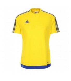 Camiseta adidas Estro 15 M62776 para niños en color amarillo, camiseta de fútbol con tecnología Climalite que favorece la expulsión del sudor.