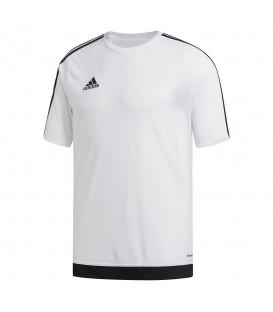 Camiseta adidas Estro 15 S16146 para niños en color blanco, camiseta con tejido Climalite que ayuda a la expulsión del sudor, perfecta para practicar deportes.