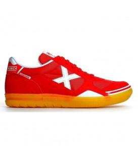 Comprar zapatillas de fútbol sala baratas Munich Gresca 08 3000624 de color rojo con suela de color caramelo. Otros modelos de fútbol sala en chemasport.es
