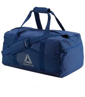 Bolsa Reebok Duffle Bag CF7597 en color azul, bolsa para el gimnasio de material resistente y duradero, más modelos en chemasport.es, envíos en 24/48 horas!!!!!