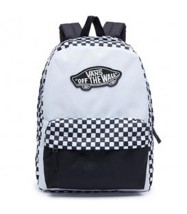 Mochila Vans Realm Backpack V00NZ056M en color blanco y negro, mochila con un amplio compartimento principal y una original combinación del blanco y negro.