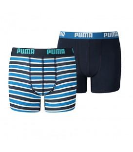 Bóxer Puma Basic Printed 575001001056 en color azul, pack de 2 bóxers para niño, más modelos disponibles en chemasport.es