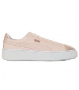 Zapatillas para mujer con plataforma Puma Basket Platform Canvas 36649402 de color rosa y puntera brillante al mejor precio en chema sneakers pontevedra