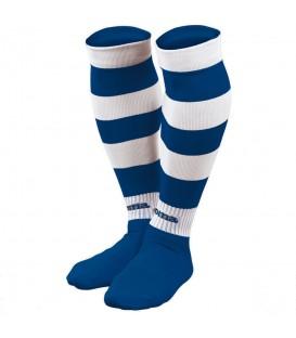 Media Joma Zebra 113 en color blanco y azul. Entra en chemasport.es y descubre más modelos y colores de medias Joma para fútbol.