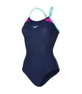 Bañador Speedo Boom Splice Thinstrap 8-10837C313 para mujer color azul, bañador de natación con tecnología Endurance10 para mantener la forma durante más tiempo