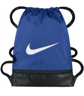 Saquito Nike Brasilia BA5338-480 azul royal, mochila tipo saco con cierre de cordón y un pequeño bolsillo con cierre de cremallera, más colores disponibles.