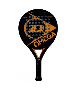 Pala de Padel Dunlop Omega 0503521 en color negro y naranja, pala ligera para para principiantes, diseñada para ofrecer equilibrio entre potencia y control.