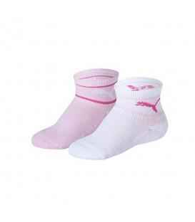Calcetines Puma Mini Cats 205204001-094 en color blanco y rosa, pack de 2 calcetines de algodón para niños, cómpralos ya en chemasport.es al mejor precio.