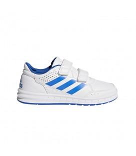 Zapatillas para niños con cierre de velcro adidas altasport CF Kids BA9525 de color blanco y azul. Otros modelos para niños en chemasport.es