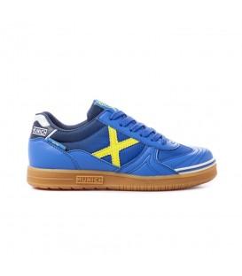 Zapatillas de fútbol sala baratas para niños Munich G-3 Kids VCO Indoor 876 de color azul al mejor precio en tu tienda de deportes barata online chemasport.es
