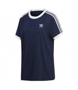 Camiseta para mujer con corte holgado Adidas 3 stripes DH4423 de color azul al mejor precio y gastos de envío gratis en compras superiores a 60€.