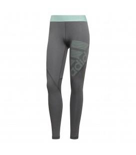 Mallas de running adidas Alphaskin Sport para hombre de color gris y detalles verdes. Ajustes por debajo de tobillo. Mallas técnicas con tecnología Alphaskin.