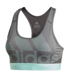 Top adidas Don't Rest Alphaskin DH4443 en color gris y verde, sujetador deportivo de sujección media, disponible en chemasport.es al mejor precio.