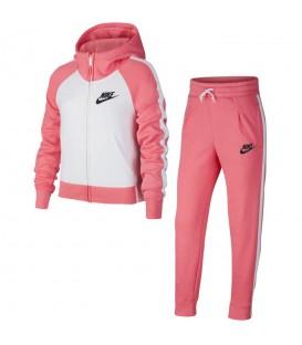 Chándal Nike Sportwear AH8286-614 para niña en color blanco y rosa, más chándales para niña en chemasport.es al mejor precio.