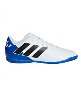 Zapatillas de fútbol sala adidas Nemeziz Tango 18.4 IN Junior DB2398 para niño en color blanco y azul, más modelos en chemasport.es al mejor precio.