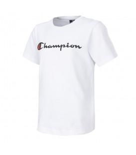 Camiseta Champion Crewneck 304752-WW001 para niños en color blanco, camisetas básicas perfectas para el día a día en chemasport.es, entra y descubre más colores
