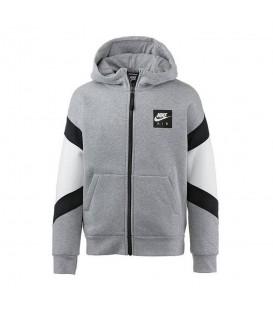 Compra ahora esta chaqueta con capucha Nike Air 939635-063 para niños de color gris y con apliques en contraste en negro y blanco en Chemasport.es