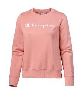 Sudadera original Champion Crewneck 110835-PS033 de color rosa con letras blancas al mejor precio en chemasport.es